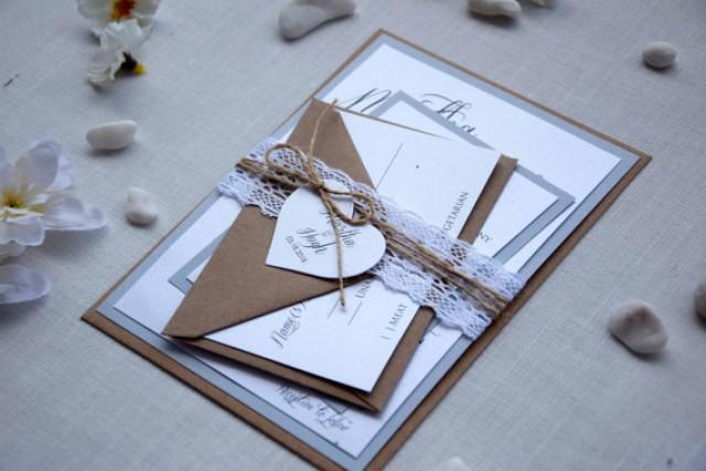 wedding photo - Rustic Chic Wedding Invitation Kit, Grey Wedding Invitation, Custom Invitations, Lace Wedding Invites, Country Wedding Invite - SAMPLE
