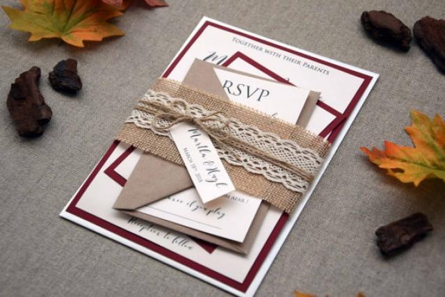 wedding photo - Fall Wedding Invitation, Autumn Wedding Invitation Kit, Personalized Invitation, Unique Invitation, Rustic Lace Invites - SAMPLE