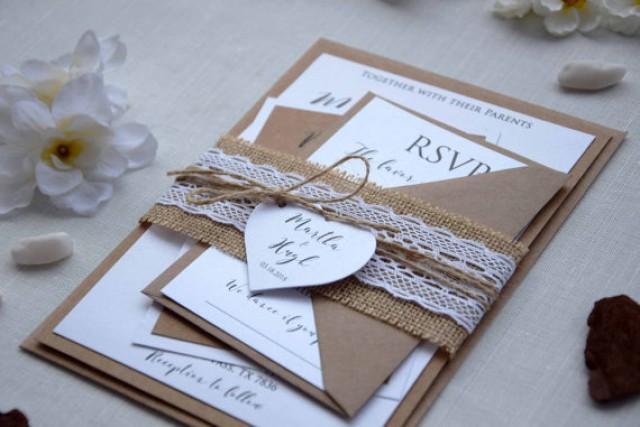 wedding photo - Rustic Lace Wedding Invite, Simple Wedding Invitation, Lace Invitation, Personalized Wedding Invitation, Country Wedding Invitation - SAMPLE