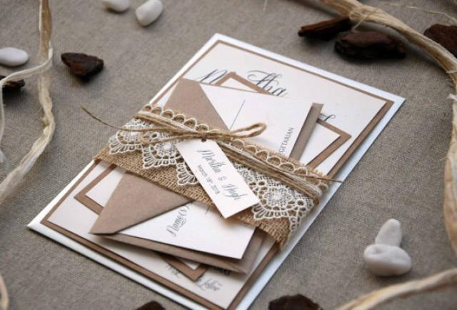wedding photo - Rustic Lace Wedding Invite, Burlap and Lace Wedding Invitation Kit, Custom Wedding Invitation, Farm Invitation, Unique Invitations - SAMPLE