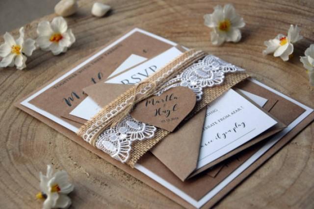 wedding photo - Burlap and Lace Wedding Invitation Kit, Personalized Invitation, Rustic Lace Wedding Invite, Farm Invitation, Unique Invitations - SAMPLE