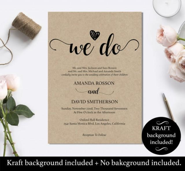 wedding photo - We Do Wedding Invitation Template - Rustic Kraft We Do Wedding Invitation - Instant download wedding invitation template