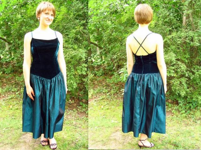 wedding photo - Upcycled Teal Party / Prom Dress, Modern Size 8, Small