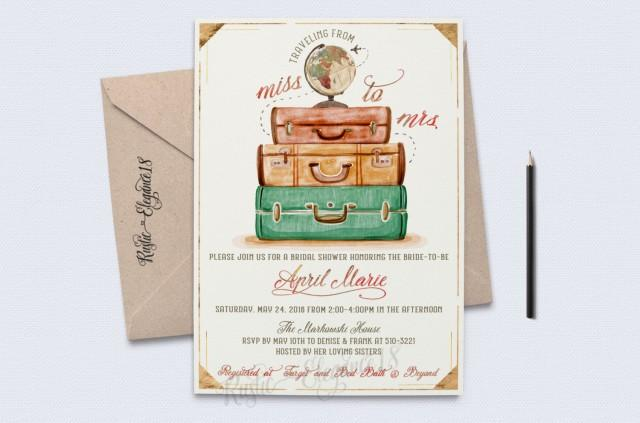 wedding photo - Traveling From Miss To Mrs Bridal Shower Invite/Vintage Bridal Shower Invitations/Gold Foil/Globe Travel Theme Party/ Vintage Travel Shower/