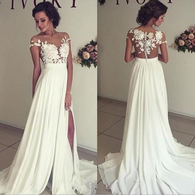 wedding photo - Sexy A-Line Split Side Sheer Neck Long Wedding Dress Bridal Gown with Lace