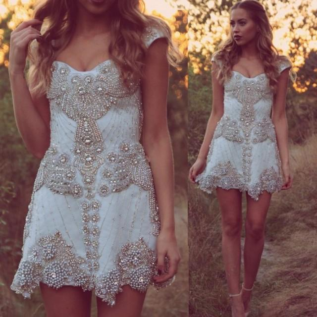 wedding photo - Fashion Short Classy Wedding/Homecoming/Prom Dress- White Off the Shoulder with Beaded