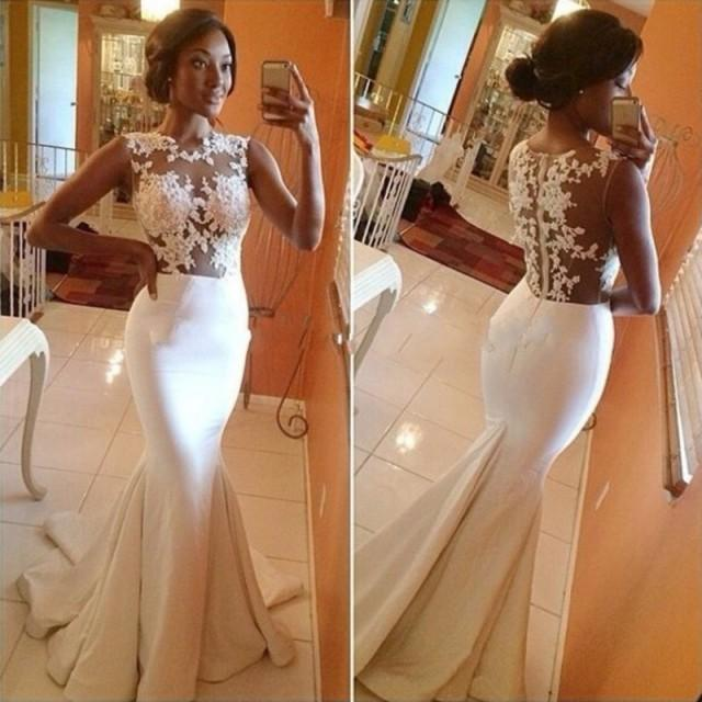 wedding photo - Hot-Sell Long Wedding Gown - White Mermaid Scoop with Appliques