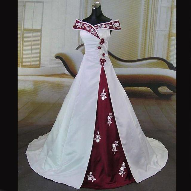 wedding photo - Elegant Wedding Dress -Burgundy and White A-Line Off-the-Shoulder with Embroidery
