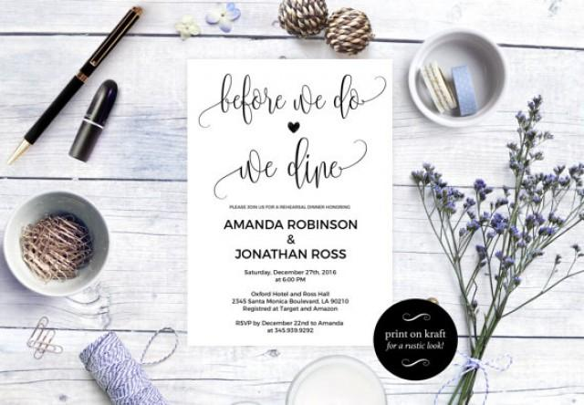 wedding photo - Before we do we dine Rehearsal Dinner Invitation - Tonight We Dine Invitation - Simple Rustic Kraft Wedding Invitation