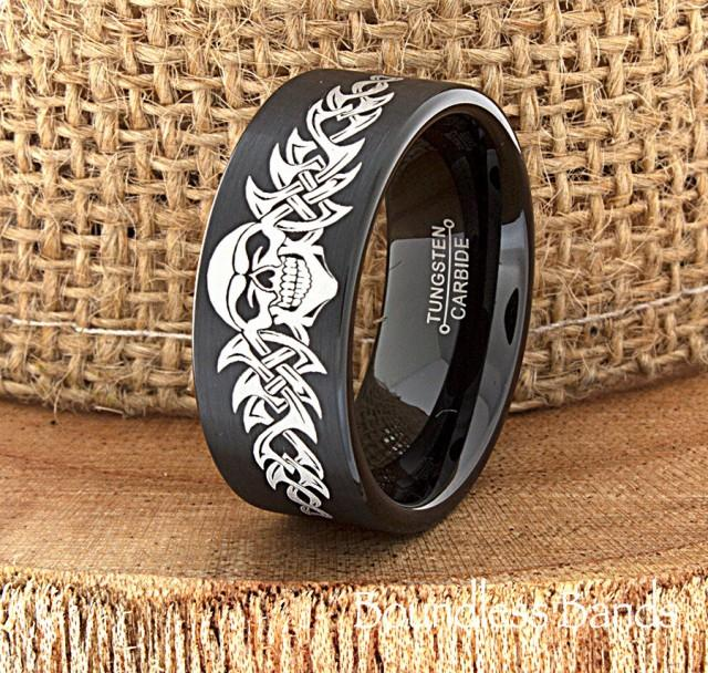 Skull wedding band skull ring biker wedding band mens for Mens wedding band tattoos
