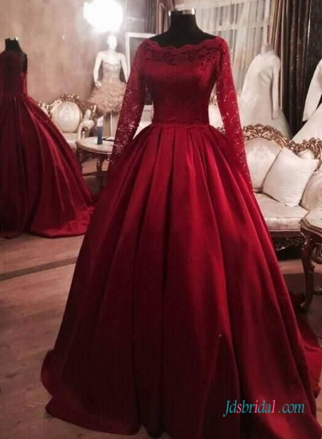 Red Burgundy Colored Long Sleeves Satin Ball Gown Wedding