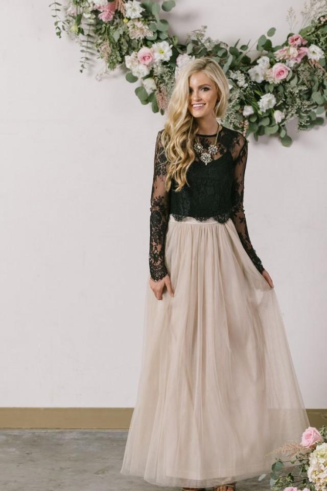 Shoe Anabelle Beige Full Tulle Maxi Skirt 2605140