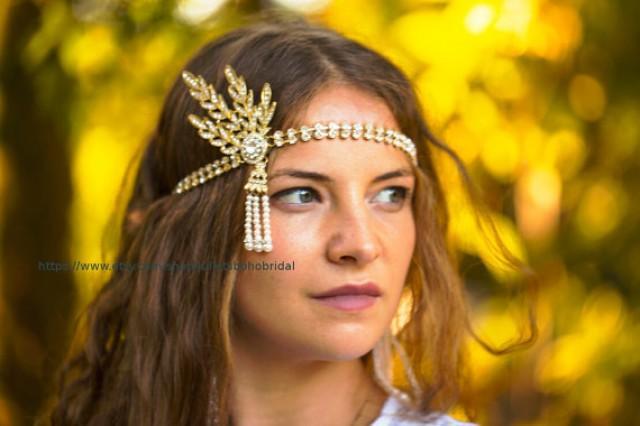 wedding photo - GATSBY HEADPIECE, Vintage style Great Gatsby Daisy Buchanan Headband, GATSBY Headband, Art Deco, 1920's Flapper Headpiece, Gold Bridal Tiara