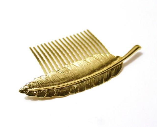 wedding photo - Gold feather hair Comb, Gold leaf comb, Bridal Hair Comb, Wedding Hair Comb, Woodland Hair Accessory, Bridesmaids Accessory, Feather Jewelry