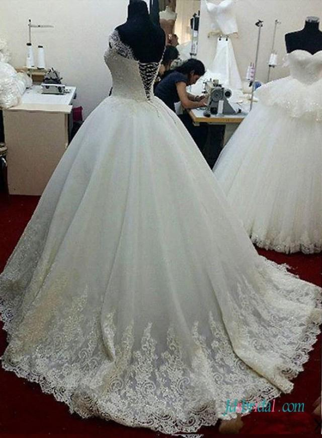 Dreamy Lace Off Shoulder Princess Ball Gown Wedding Dress 2605597