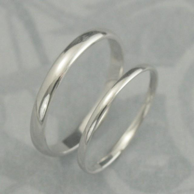 Solid 18K Gold His And Hers Wedding Band Set Plain Jane Rounded Traditional Style 3mm And 1