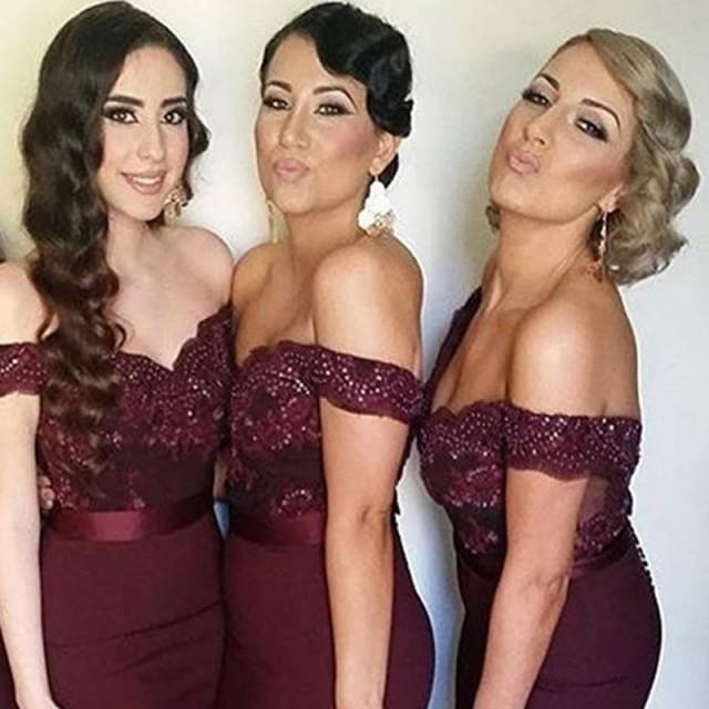 wedding photo - Perfect Burgundy Bridesmaid Dress - Mermaid Off Shoulder Sweep Train with Beading Lace