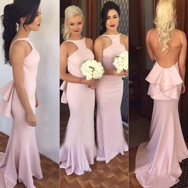 wedding photo - Elegant Spaghetti Straps Backless Pink Mermaid Bridesmaid Dress