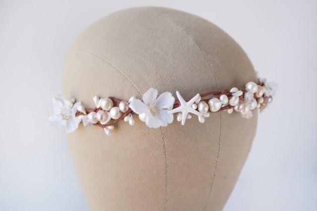 Seashell Crown Beach Wedding Hair Accessories White