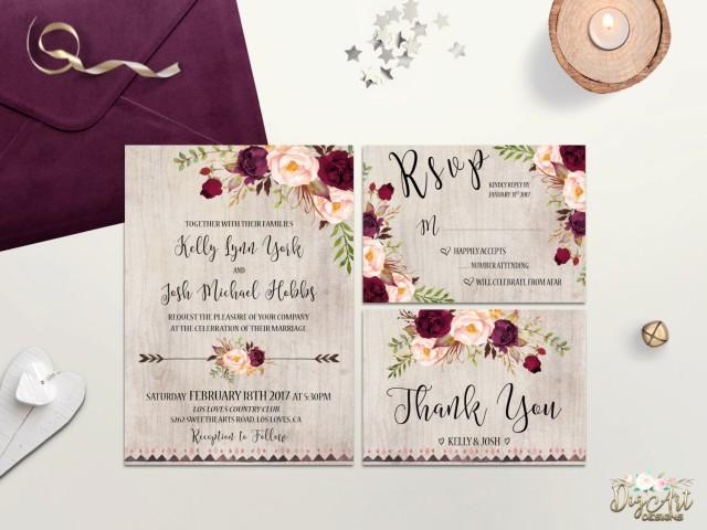 DIY Wedding Templates Edit Yourself using by MintyPaperieShop