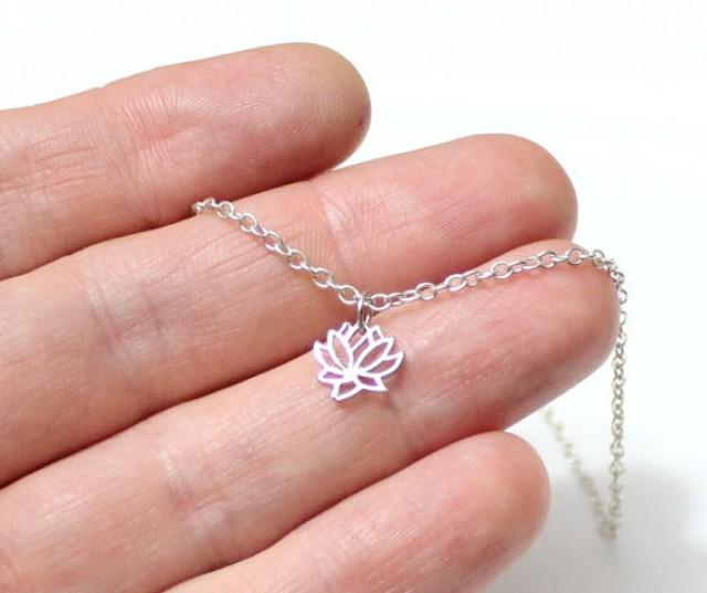 Tiny lotus necklace lotus flower charm sterling silver for Gemsprouts tiny plant jewelry
