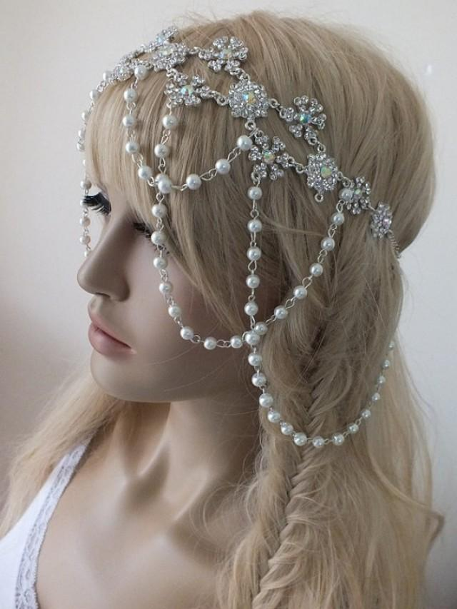wedding photo - free ship Bohemian Style Inspired Pearls And Vintage Decoration Weddings Bridal Head Chain Hair Jewelry Headpiece Wedding Headpiece