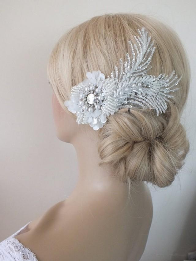 wedding photo - Bridal lace haircomb ivory lace Hair comb Ivory Beaded lace floral wedding hair piece bride hair comb