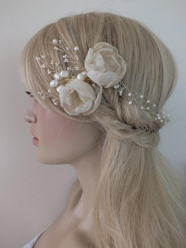 wedding photo - Bridal floral hair vine, crystals flowers hair vine, wedding headpiece, bridal wreath, pearls and crystals twisted on wire,
