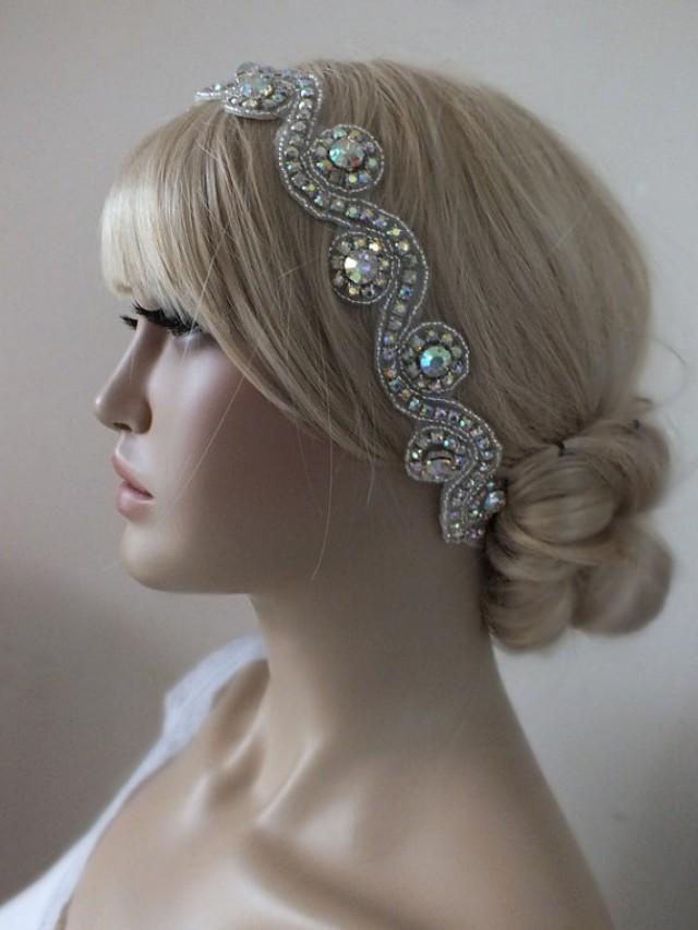 wedding photo - Rhinestones Wedding Headband bridal headband, wedding headband, headpiece, Wedding hair accessories