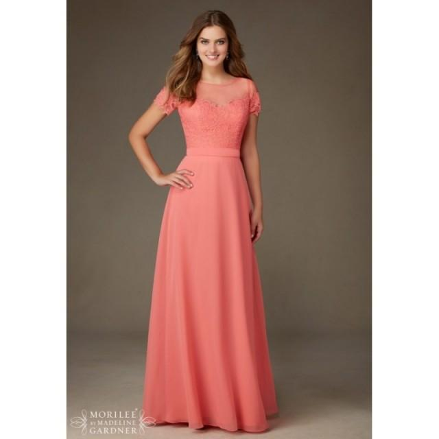 Mori lee bridesmaids 124 floor length chiffon illusion for Mori lee wedding dress sale