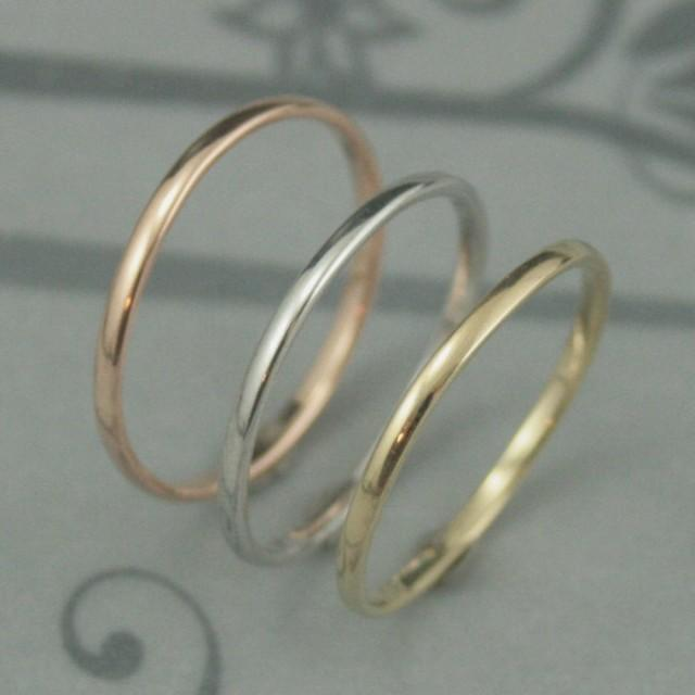 wedding photo - Thick Solid 14K Gold 1.5mm by 1mm Skinny Minnie Plain Jane Half Round Band-YOUR CHOICE of Yellow, White or Rose Gold