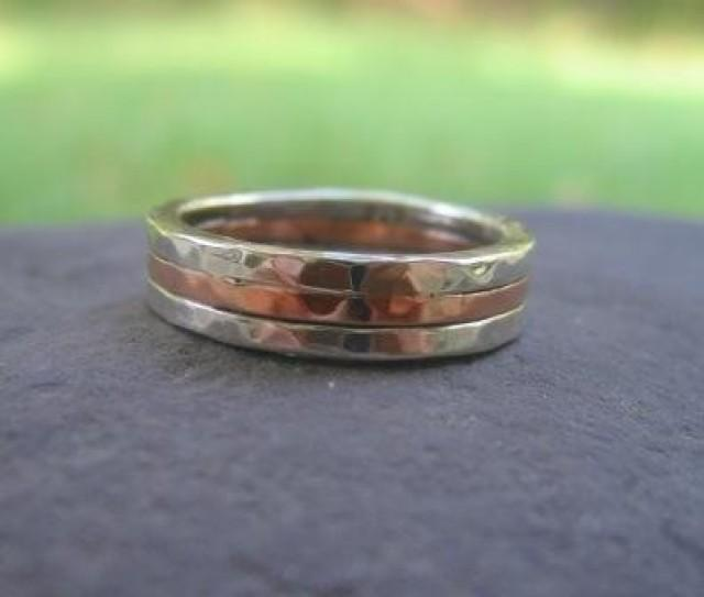 wedding photo - mens wedding band . sterling silver and copper . (( Triad Hammered Band )) . made to order