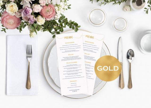wedding photo - Menu cards wedding - Gold Wedding Menu Card Template - Printable menu card - Gold wedding program - Downloadable wedding