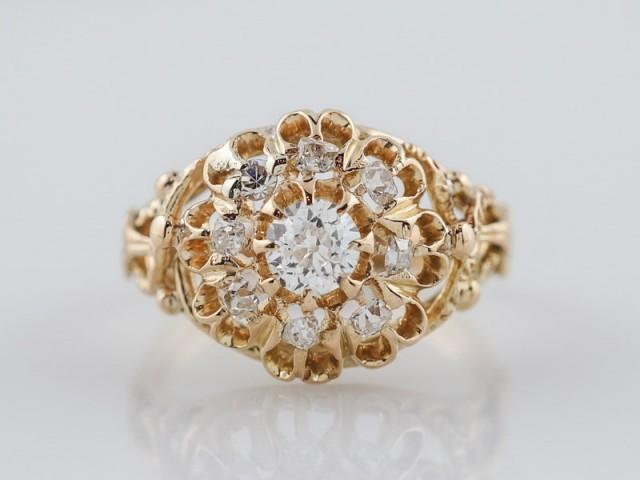 wedding photo - Antique Engagement Ring Victorian .29ct Old Mine Cut Diamond in 14k Yellow Gold