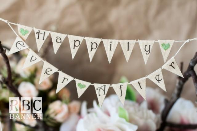 wedding photo - HAPPILY EVER AFTER / Cake Topper / Wedding Glitter Banner