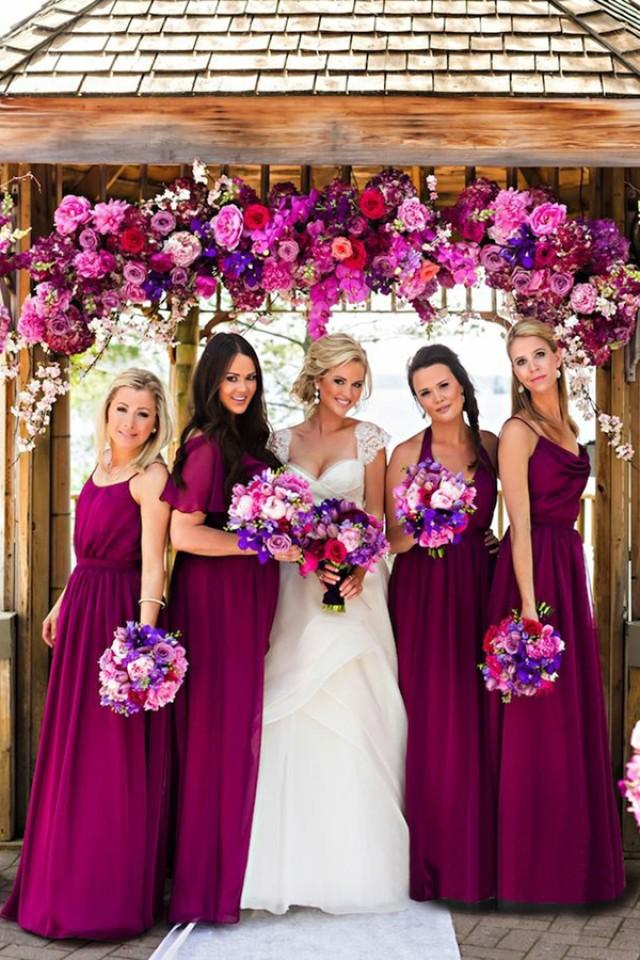 wedding photo - Hot Sale Halter Sleeveless Floor-Length Purple Bridesmaid Dress