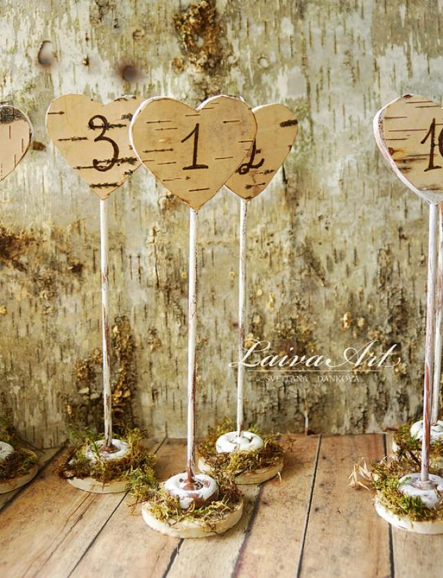 Rustic wedding table numbers centerpiece wood birch