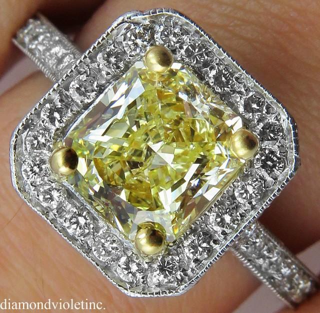 wedding photo - GIA 2.65ct Estate Vintage Fancy Light Yellow Radiant Diamond Engagement Wedding Platinum Ring