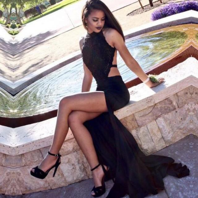 wedding photo - Sexy Halter Split Long Black Backless Lace Prom Evening Dress from Tidetell
