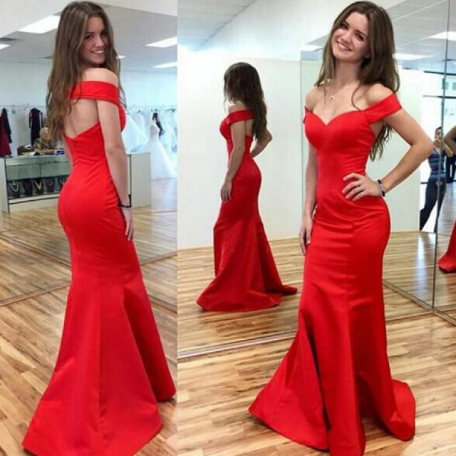 wedding photo - Sexy Off-The-Shoulder Open Back Mermaid Red Prom Dress from Tidetell