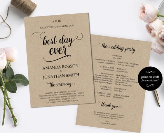 wedding photo - Printable Wedding Program Template - DIY Wedding Program - Cheap wedding program template - Downloadable Wedding