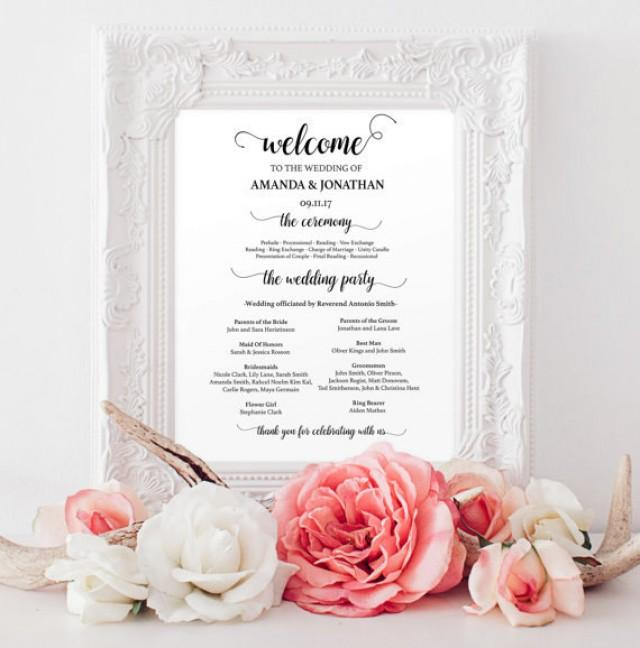 wedding photo - Wedding programs instant download - Welcome wedding program sign printable - Wedding programs - Wedding program template download
