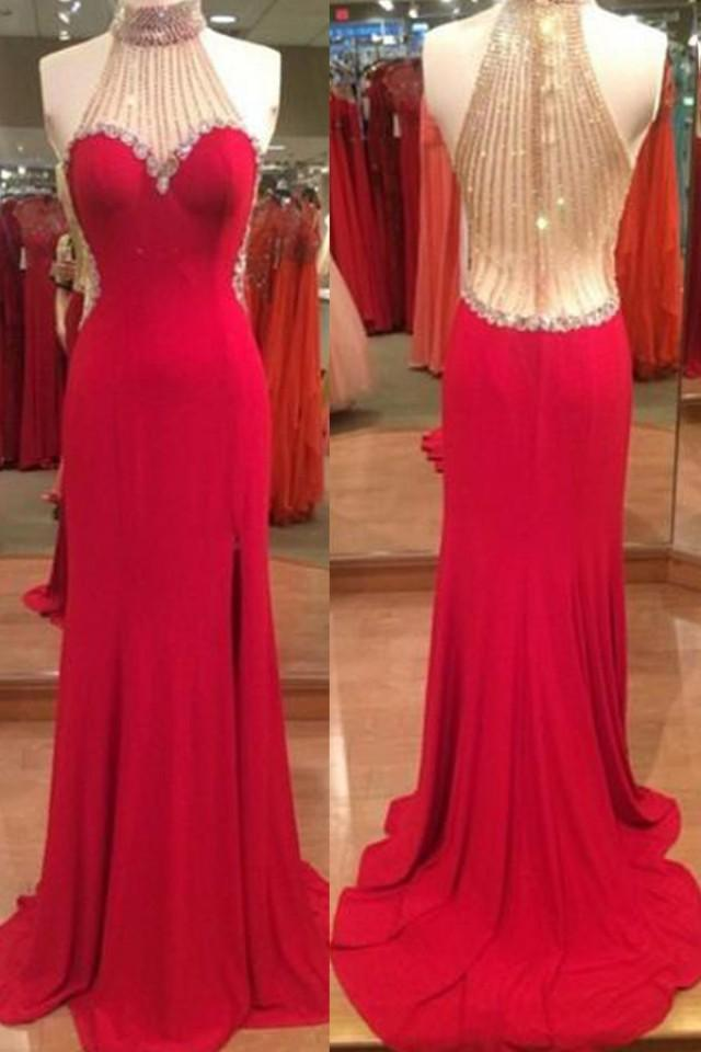 wedding photo - Stunning Halter Red Split Floor-Length Prom Dress with Beading Rhinestones