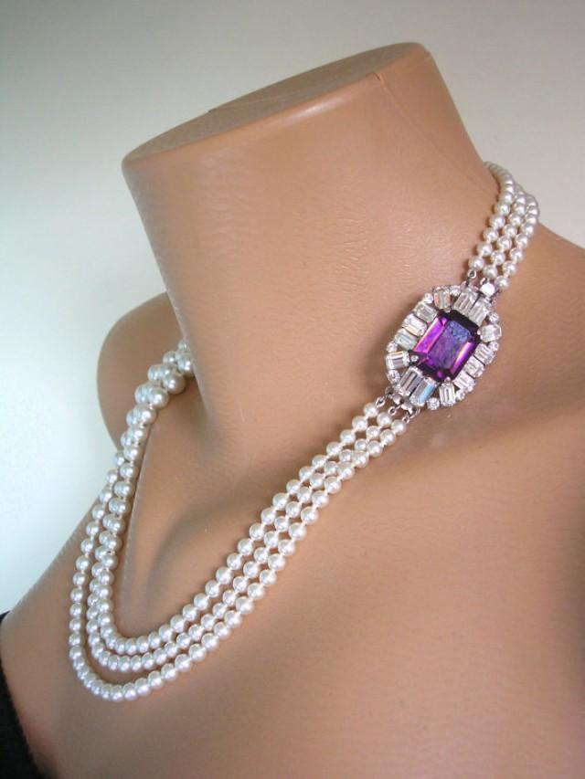 wedding photo - Amethyst Necklace, Pearl Necklace, Purple Bridal Choker, Great Gatsby, Art Deco, Rhinestone Necklace, Wedding Jewelry, Bridal Necklace