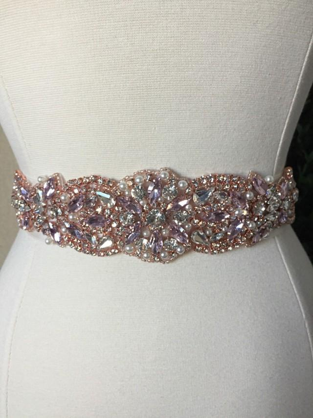 Pink and rose gold bridal sash wedding dress sash belt for Rhinestone sash for wedding dress