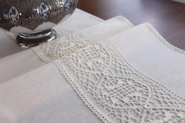 wedding photo - natural linen table runner, wedding, rustic table runner, ivory lace, rustic chic