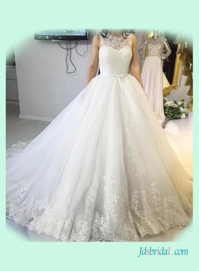 Illusion lace top puffy tulle princess wedding dress for Wedding dress with illusion top