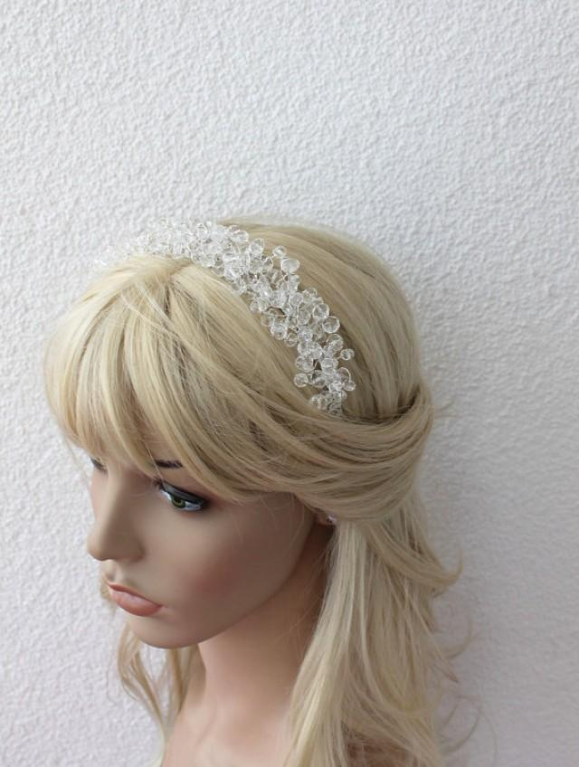 wedding photo - Crystals Headband, Wedding Tiara, Wedding Hair Wine, Country Bride, Hippie headband flowergirl, Bridal Halo