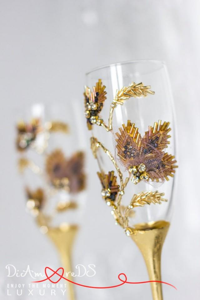 wedding photo - Autumn wedding, champagne flutes, rhinestone, gold and bronze, toasting glasses, leaf wedding, gift ideas, maple glasses, crystal, 2 pcs