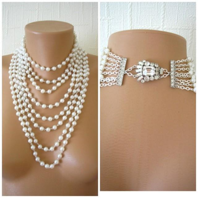 wedding photo - Multistrand Pearl Necklace, Statement Necklace, Art Deco, Great Gatsby Jewelry, Pearl Choker, Bridal Pearls, Large Pearl Necklace, Downton